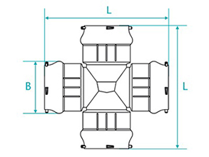 Technical drawing Crosspiece with bags for PBA PVC tubes