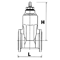 Technical drawing Euro Valve 23 with Flanges