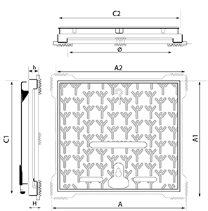 Technical Drawing Cap for Curbside Aksess