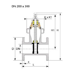 Technical drawing valve Euro 22 DN 200 to 300