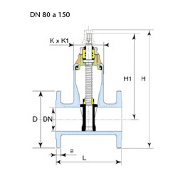Technical drawing valve Euro 22 DN 80 to 150