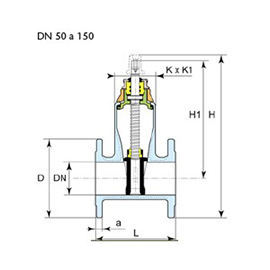 Technical drawing valve Euro 23 DN 50 to 150