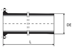 Technical drawing Pipe Flange bag with or without sealing flap