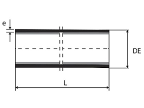 Technical drawing Pipe tip tip with or without sealing flap