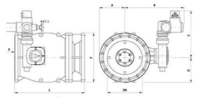 Desenho técnico Válvula de Fluxo Anular com atuador elétrico