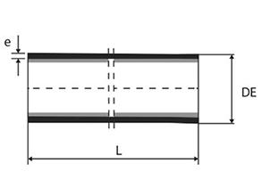 Desenho técnico Tubo ponta ponta com ou sem aba de vedação