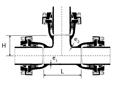 Desenho técnico Tê com Bolsas JTE