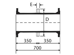 Desenho técnico Toco com Flanges e aba de vedação e ancoragem
