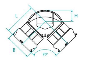 Desenho técnico Curva de 90 com bolsas para tubos PVC PBA