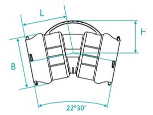 Desenho técnico Curva de 22 com bolsas para tubos PVC PBA