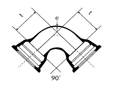 Desenho técnico Curva 90° com Bolsas JGS