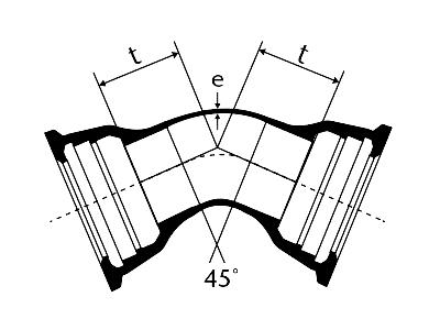 Desenho técnico Curva 45 com Bolsas JGS