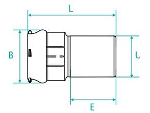 Desenho técnico Redução ponta bolsa para tubos PVC PBA