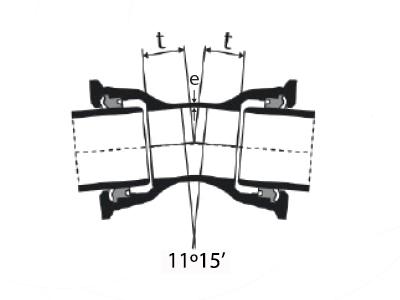 Desenho técnico Curva 11°15' com Bolsas JTI