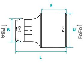 Desenho técnico Peças de interligação  para tubos PVC PBA