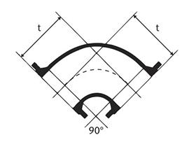 Desenho técnico Curva de 90 com Flanges