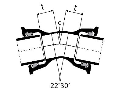 Desenho técnico Curva de 22 com Bolsas JTI