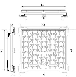 Desenho técnico tampão para calçada Aksess
