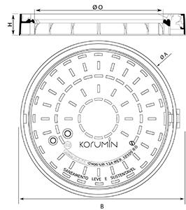 Desenho técnico tampão para táfego intenso Korumin
