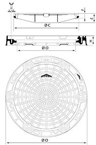 Desenho técnico tampão para táfego intenso Estanque