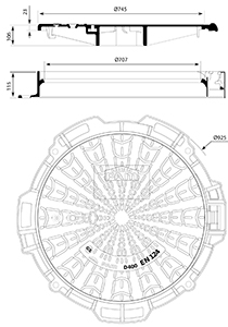 Desenho técnico tampão para táfego intenso Telecom 700