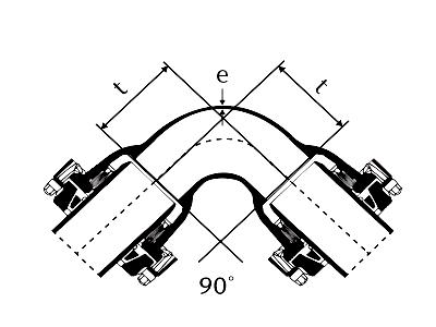 Desenho técnico Curva 90° com Bolsas JTE