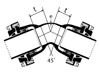 Desenho técnico Curva 45 com Bolsas JTE