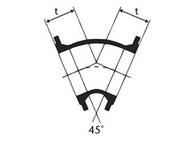 Desenho técnico Curva 45 com Flanges