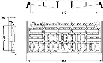 Desenho técnico grelha para estacionamento Eskoa