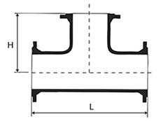 Desenho técnico Tê com Flanges