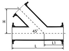 Desenho técnico Junção 45 com Flanges