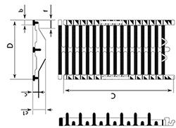 Desenho técnico grelha para tráfego intenso Autolinea D400