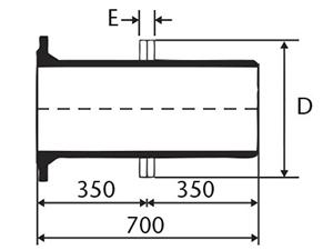 Desenho técnico Extremidade ponta e flange com aba de vedação e ancoragem