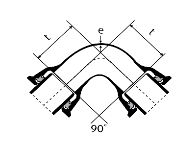 Desenho técnico Curva 90 com Bolsas JTI