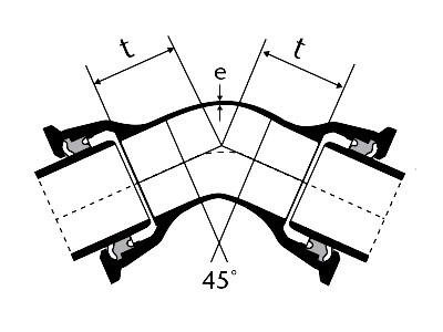 Desenho técnico Curva de 45 com Bolsas JTI