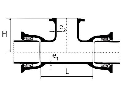 Desenho técnico Tê com Bolsas JTI e Flange