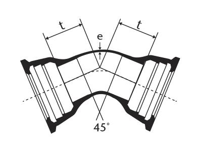 Desenho técnico Curva de 45 com Bolsas JGS