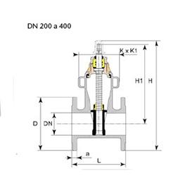 Desenho técnico válvula Euro 23 DN 200 a 300